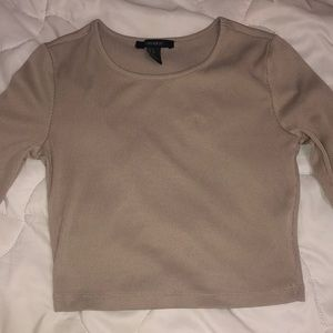 Taupe forever21 long sleeve crop top